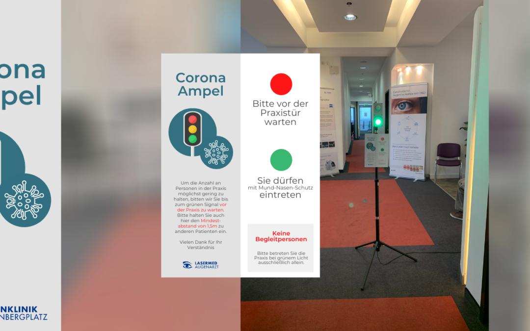 Zu Ihrer Sicherheit: Corona-Ampeln allen Lasermed Augenarztpraxen